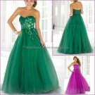 Empire Waist Purple Green Organza Maternity Evening Dress Long Prom Dress Gown Beaded Party Dress