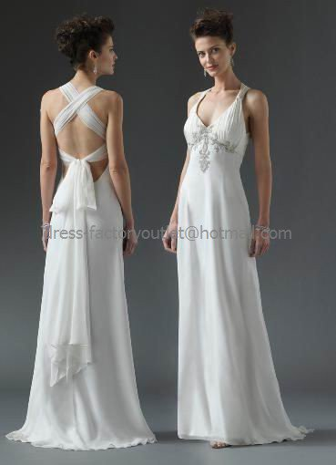 White chiffon empire waist evening dress long prom dress for Cross back wedding dress