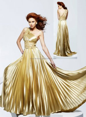 A-line One Shoulder Gold Satin Evening Dress Long Prom Dress Gown Ruffled Party Dress