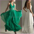 Halter White Green Chiffon A-line Evening Dress Bridal Prom Dress Beaded Party Dress