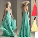 Blue Pink Coral Red Evening Dress Long Empire Waist Prom Dress Gown Beaded Party Dress