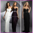 White Black Purple Chiffon Strapless Mermaid Evening Dress Sweetheart Prom Dress Pleated Party Dress