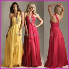 Yellow Red Chiffon One Shoulder Evening Dress Sweetheart Prom Dress Pleated Party Dress