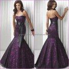 Black Lace Purple Satin Evening Dress Long Prom Dress Mermaid Evening Gown & Sash Bridal Party Dress