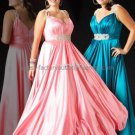 Blue Pink Evening Dress Sweetheart Prom Dress Pleated Plus Size Satin Party Dress