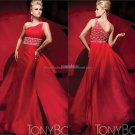 Red Chiffon Satin One Shoulder Evening Dress Bridal Prom Dress Pleated Party Dress