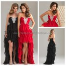 Black Red Chiffon Evening Dress Strapless Prom Dress Jeweled High-Low Tiered Party Dress