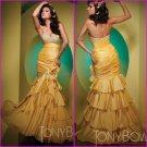 Gold Taffeta Evening Dress Strapless Prom Dress Jeweled Mermaid Tiered Party Dress