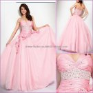 Pink Satin Tulle Evening Dress Sweetheart Prom Dress Pleated Flowers Quinceanera Dress