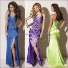 Blue Purple Green Satin Halter Evening Dress Prom Dress Front Slit Bridal Gown Mermaid Party Dress