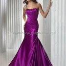 Blue Purple Satin Evening Dress Long Prom Dress Bridal Gown Mermaid One Shoulder Party Dress