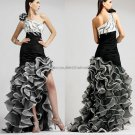 Black White Organza Evening Dress Long Prom Dress Bridal Gown Mermaid One Shoulder Party Dress