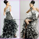 Black White Organza Evening Dress Long Tiered Prom Dress Bridal Mermaid One Shoulder Party Dress