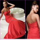 Vintage Red Chiffon Strapless Mermaid Evening Dress Jeweled Prom Dress Sweetheart Party Dress