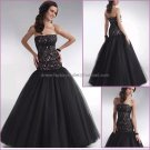 Black Lace Tulle Evening Dress Long Prom Dress Bridal Mermaid Strapless Quinceanera Dress