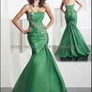 Green Taffeta Embroidery Evening Dress Long Prom Dress Bridal Mermaid Strapless Beaded Party Dress