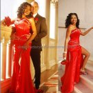 Gold Red SATIN Evening Dress Long Prom Dress Front Slit Bridal Mermaid Strapless Beaded Party Dress