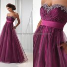 Empire Waist Purple Organza Bridesmaid Evening Dress Long Prom Gown Beaded Party Dress
