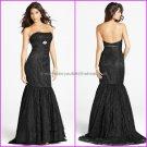 Black Lace Evening Dress Long Prom Dress Bridal Mermaid Strapless Party Dress