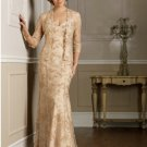 Champagne Long Mother of the Bride Dress Bronze Free JACKET Evening Dress