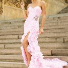 Strapless Pink Flowers Organza Bridal Evening Dress Pleated A-line Prom Dress Formal Gown