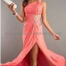 One Shoulder Coral Pink Chiffon Bridal Evening Dress Jeweled Front Slit  Prom Dress Formal Gown