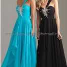 One Shoulder Blue Black Chiffon Bridal Evening Dress Bridesmaid Prom Dress Jeweled Formal Gown