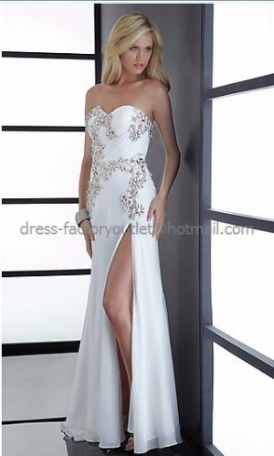 Strapless White Blue Chiffon Bridal Evening Dress Prom Dress Front Slit Jeweled Formal Gown