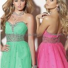 Straples Green Hot Pink Bridal Evening Dress Bridesmaid A-line Prom Dress Beaded Formal Ball Gown