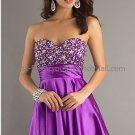Strapless Sweetheart Short Evening Dress Purple SATIN Prom Dress Beaded Party Dress