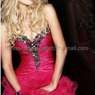 Black Organza Strapless Sweetheart Evening Dress Short Prom Dress Color Diamonds Beaded Party Dress