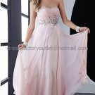 Strapless Pink Chiffon Long Bridal Evening Dress A-line Prom Dress Beaded Cocktail Dress