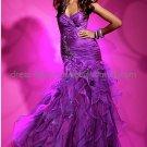 Strapless Purple Organza Long Bridal Evening Dress A-line Prom Dress Beaded Formal Dress