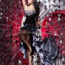 Strapless Black Leopard Long Bridal Evening Dress Hi-low Prom Dress Beaded Formal Dress
