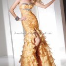 Strapless Yellow Organza Bridal Evening Dress A-line Prom Dress Tiered Slit Formal Dress