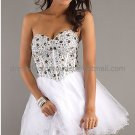 Black White Organza Strapless Sweetheart Evening Dress Short Prom Dress Beaded Party Dress