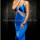 Spaghetti StrapsWhite Blue SATIN Bridal Evening Dress Mermaid Prom Dress Formal Gown