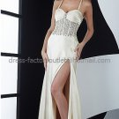 Spaghetti Straps Sexy Ivory Satin Bridal Evening Dress Side Slit Prom Dress Formal Gown