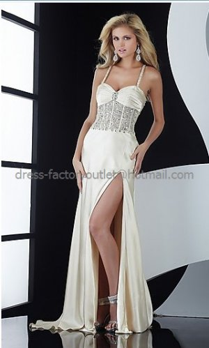Spaghetti Straps Sexy Ivory Satin Bridal Evening Dress Side Slit Prom Dress Formal Gown