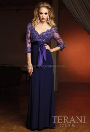Purple Chiffon Lace Top Evening Dress A-line Satin Sash Prom Dress Mother of the Bride Groom Dress