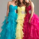 Strapless Yellow Blue Organza Bridal Evening Dress A-line Prom Dress Cascading Ruffles Formal Dress