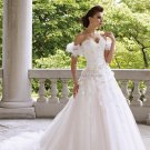 A-line Strapless Sweetheaert White Lace Wedding Dress Organze Bridal Ball Gown  Sz24 6 8 10+