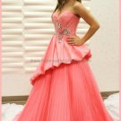 Strapless Hot Pink Taffeta Organza Bridal Ball Gown Beaded A-line Quinceanera Dress