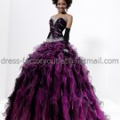 Strapless Purple Black Organza Bridal Ball Gown Beaded Cascading Ruffles A-line Quinceanera Dress