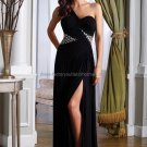 One Shoulder Black Chiffon Bridal Evening Dress Pleated A-line Prom Dress Front Slit Formal Gown