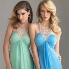 Halter Light Green Blue Coral Chiffon Bridal Evening Dress Pleated A-line Prom Dress Formal Gown