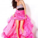 Sex Hot Pink Hi-Low Bridal Evening Dress Jeweled Organza Short Draped Prom Dress Formal Gown