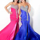 Silver Hot Pink Blue Bridal Evening Dress Jeweled Pleated Prom Dress  Side Slit Formal Gown