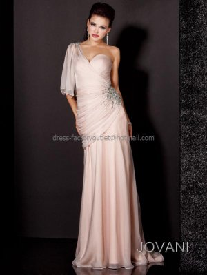 Champagne Chiffon Bridal Evening Dress Jeweled Sweetheart Prom Dress Formal Gown