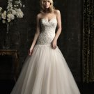 2012 Design Strapless Sweetheart Bridal Gown Champange Organza Lace Beading A-line Wedding Dress